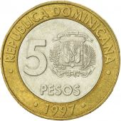 Dominican Republic, 5 Pesos, 1997, SUP, Bi-Metallic, KM:88