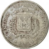 Dominican Republic, 25 Centavos, 1986, Dominican Republic Mint, TTB