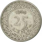 Surinam, 25 Cents, 1966, EF(40-45), Copper-nickel, KM:14