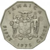 Jamaica, Elizabeth II, 50 Cents, 1975, TTB+, Copper-nickel, KM:65