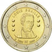 Belgium, 2 Euro, Louis Braille, 2009, MS(63), Bi-Metallic, KM:288