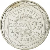 France, 10 Euro, Rhone-Alpes, 2011, MS(63), Silver, KM:1751