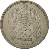 Monaco, Louis II, 20 Francs, Vingt, 1947, Poissy, EF(40-45), Copper-nickel