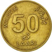 MALDIVE ISLANDS, 50 Laari, 1990, TTB, Nickel-brass, KM:72