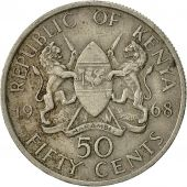 Kenya, 50 Cents, 1968, EF(40-45), Copper-nickel, KM:4