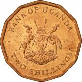 Uganda, 2 Shillings, 1987, AU(50-53), Copper Plated Steel, KM:28
