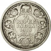 INDIA-BRITISH, George V, 1/4 Rupee, 1915, VF(20-25), Silver, KM:518