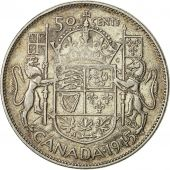 coin, Canada, George VI, 50 Cents, 1945, Royal Canadian Mint, Ottawa, EF(40-45)