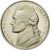 Monnaie, États-Unis, Jefferson Nickel, 5 Cents, 1992, U.S. Mint, San Francisco