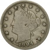Coin, United States, Liberty Nickel, 5 Cents, 1904, U.S. Mint, Philadelphia