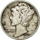 Coin, United States, Mercury Dime, Dime, 1942, U.S. Mint, Philadelphia
