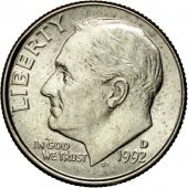Coin, United States, Roosevelt Dime, Dime, 1992, U.S. Mint, Denver, MS(60-62)