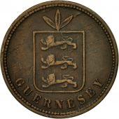 Monnaie, Guernsey, 4 Doubles, 1864, Heaton, TB, Bronze, KM:6