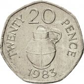 Coin, Guernsey, Elizabeth II, 20 Pence, 1983, Heaton, EF(40-45), Copper-nickel