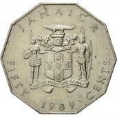 Monnaie, Jamaica, Elizabeth II, 50 Cents, 1989, TTB, Copper-nickel, KM:65