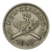Coin, New Zealand, George VI, 3 Pence, 1947, EF(40-45), Copper-nickel, KM:7a