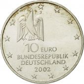 GERMANY - FEDERAL REPUBLIC, 10 Euro, 2002, MS(63), Silver, KM:217