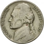 Coin, United States, Jefferson Nickel, 5 Cents, 1947, U.S. Mint, Philadelphia