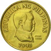 Coin, Philippines, 25 Sentimos, 1990, MS(63), Brass, KM:241.1