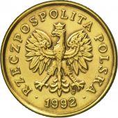 Coin, Poland, 5 Groszy, 1992, Warsaw, AU(50-53), Brass, KM:278