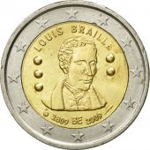 Belgium, 2 Euro, Louis Braille, 2009, MS(60-62), Bi-Metallic, KM:288
