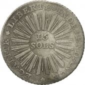 Coin, SWISS CANTONS, GENEVA, 15 Sols, 1794, Bern, EF(40-45), Silver, KM:97