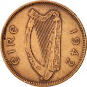 IRELAND REPUBLIC, 1/2 Penny, 1942, TTB+, Bronze, KM:10