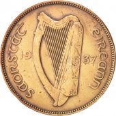 IRELAND REPUBLIC, Penny, 1937, TTB+, Bronze, KM:3