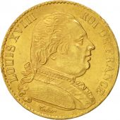 France, Louis XVIII, 20 Francs, 1814, Paris, AU(50-53), Gold, KM 706.1