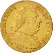 France, Louis XVIII, 20 Francs, 1815, Paris, AU(50-53), Gold, KM 706.1