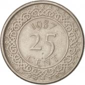 Surinam, 25 Cents, 1987, AU(50-53), Nickel plated steel, KM:14A