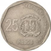Dominican Republic, 25 Pesos, 2008, TTB, Copper-nickel, KM:107