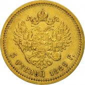 Russia, Alexander III, 5 Roubles, 1889, St. Petersburg, AU(50-53), Gold, KM:42