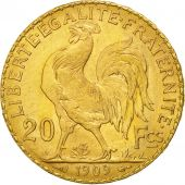 France, Marianne, 20 Francs, 1909, MS(60-62), Gold, KM:857, Gadoury:1064a