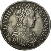 France, Louis XIV, Écu à la mèche longue,1651, Paris, TTB, KM 155.1, Gad 202