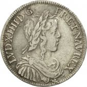 France, Louis XIV, 1/2 Écu à la mèche longue,1649, Paris, TB+, KM 164.1, Gad 169