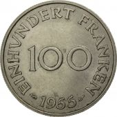 SAARLAND, 100 Franken, 1955, Paris, AU(50-53), Copper-nickel, KM:4