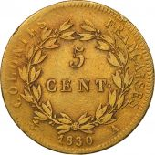 FRENCH COLONIES, Charles X, 5 Centimes, 1830, Paris, VF(20-25), Bronze, KM:10.1