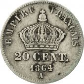 France, Napoleon III, 20 Centimes, 1864, Paris, VF(30-35), KM 805.1