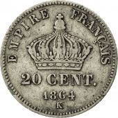 France, Napoleon III, 20 Centimes, 1864, Bordeaux, VF(30-35), KM 805.3