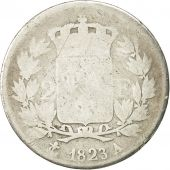 France, Louis XVIII, 2 Francs, 1823, Paris, F(12-15), Silver, KM 710.1