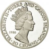 TURKS & CAICOS ISLANDS, Elizabeth II, 20 Crowns, 1998, SPL, Argent, KM:217