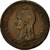 France, Dupré, 2 Décimes, 1795, Paris, AU(50-53), Bronze, KM:638.1