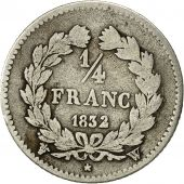 France, Louis-Philippe, 1/4 Franc, 1832, Lille, F(12-15), Silver, KM:740.13