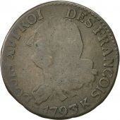 France, 6 deniers françois, 1793, Bordeaux, TB, Bronze, KM:610.3, Gad 8