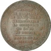 monnaie, France, 5 Sols, 1792, TB+, Bronze, KM:Tn33, Brandon:223