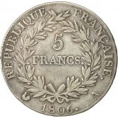 coin, France, Napoléon I, 5 Francs, 1806, Paris, VF(30-35), Silver, KM:673.1