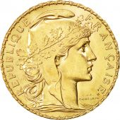 Coin, France, Marianne, 20 Francs, 1909, MS(60-62), Gold, KM:857, Gadoury:1064a