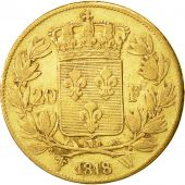 Coin, France, Louis XVIII, Louis XVIII, 20 Francs, 1818, Lille, VF(30-35), Gold