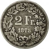 Coin, Switzerland, 2 Francs, 1875, Bern, VF(20-25), Silver, KM:21